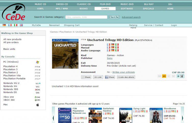 ¿Será? Tienda suiza pone en venta Uncharted Trilogy HD para PS4