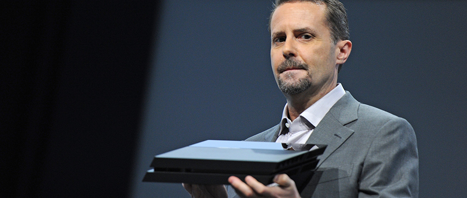 Sony CEO Andrew House unveils the new PlayStation 4 at the Sony E3 2013 press conference in Los Angeles, California June 10, 2013. House said that the new PlayStation 4 will cost USD $399 and it will be available in time for the 2013 holiday season. AFP PHOTO / ROBYN BECKROBYN BECK/AFP/Getty Images