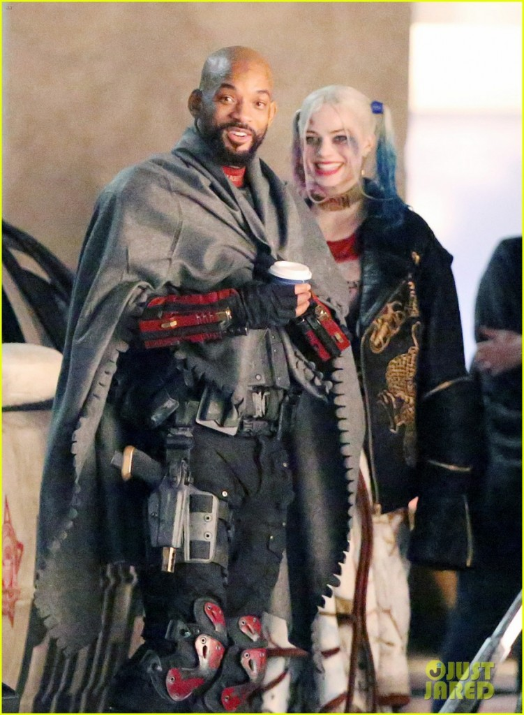 136928, EXCLUSIVE: Will Smith seen picking up Margot Robbie while filming 'Suicide Squad' in full costume. The Cast was filming on Bay street at 4am. The scene had fake rain that was pouring down on the stars and all seemed in good spirits about it. In movie Will Smith is seen as Deadshot, Margot Robbie as Harley Quinn, Jay Hernandez as El Diablo, Adam Beach, Adewale Akinnuoye-Agbaje as Killer Croc, Jai Courtney as Captain Boomerang, and Karen Fukuhara as Plastique. Will and Margot are re-united for the film after starring in the movie 'Focus' together, released in early 2015. Toronto, Canada - Saturday May 09, 2015. CANADA OUT Photograph: © PacificCoastNews. Los Angeles Office: +1 310.822.0419 sales@pacificcoastnews.com FEE MUST BE AGREED PRIOR TO USAGE