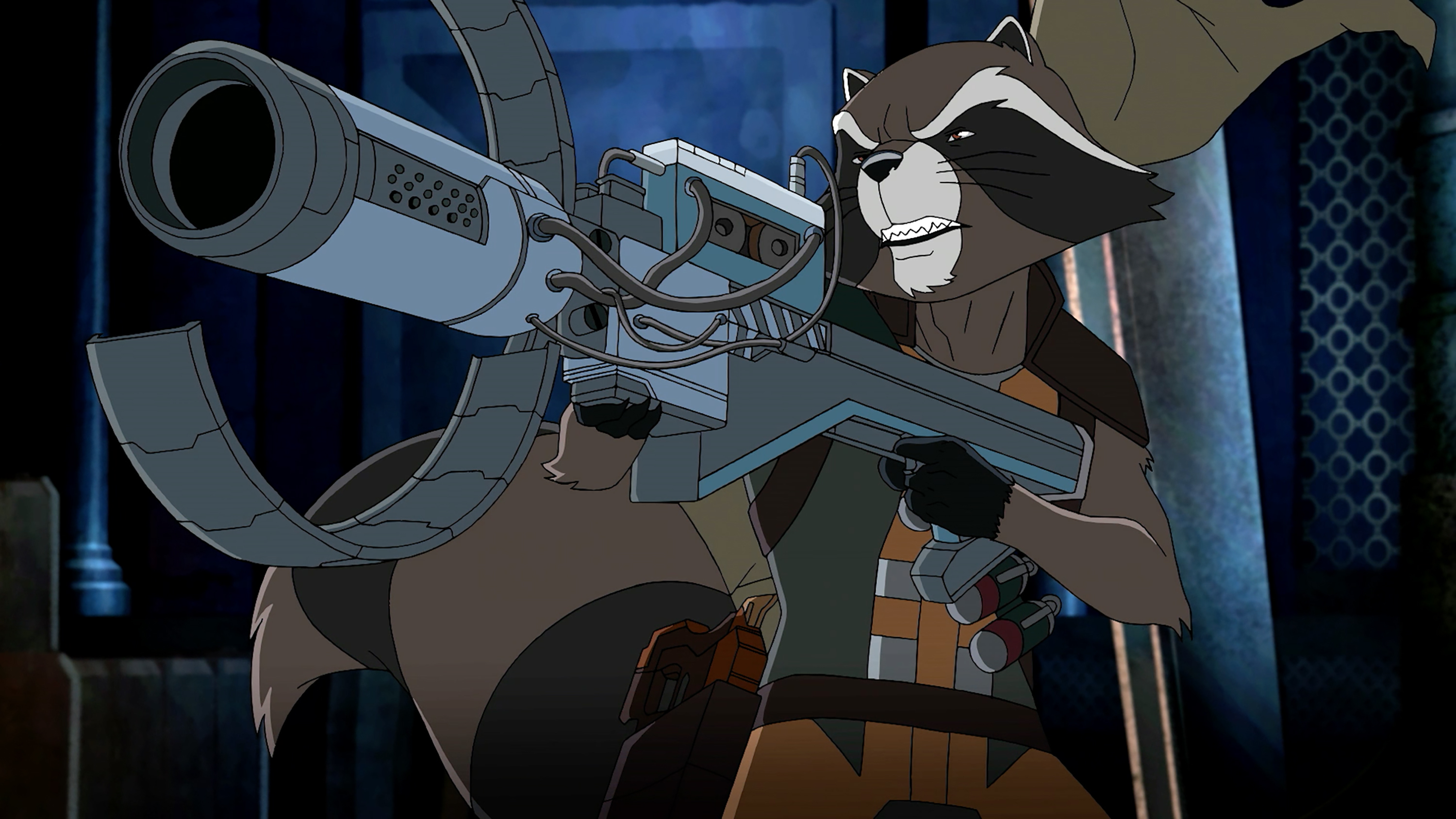 "MARVEL'S GUARDIANS OF THE GALAXY - ""Hitchin' a Ride"" - When Groot is infected by a super-evolved Venom Symbiote, Rocket must go to extreme measures to save his leafy friend. ""Marvel's Guardians of the Galaxy"" premieres Saturday, November 14 (9:30 PM - 10:00 PM ET/PT) on Marvel Universe on Disney XD. (Disney XD) ROCKET"