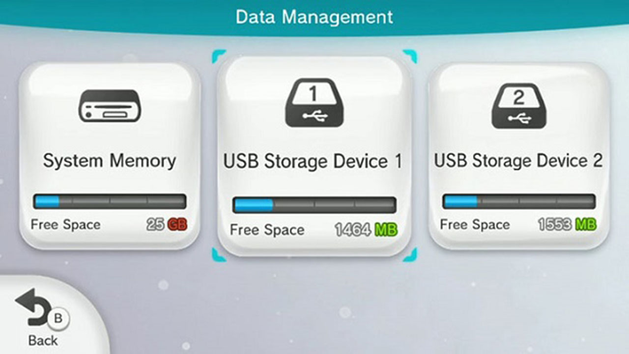 System Menu and USB Storage (Device Selected)