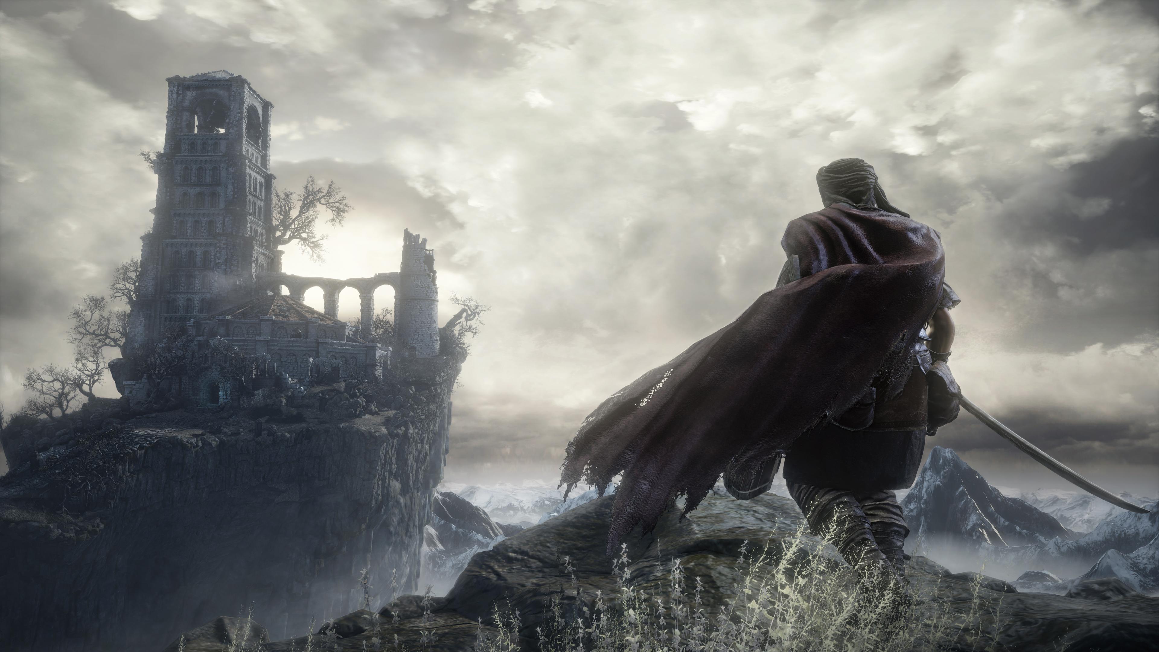 Mercenary overlooking Firelink Shrine