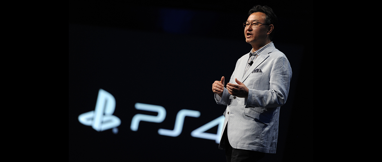 Shuhei Yoshida, president of Sony Computer Entertainment Worldwide Studios. speaks at the Sony PlayStation E3 2013 press conference in Los Angeles, California June 10, 2013. Sony CEO Andrew House said that the new PlayStation 4 will cost USD $399 and will be available in time for the 2013 holiday season. AFP PHOTO / ROBYN BECK