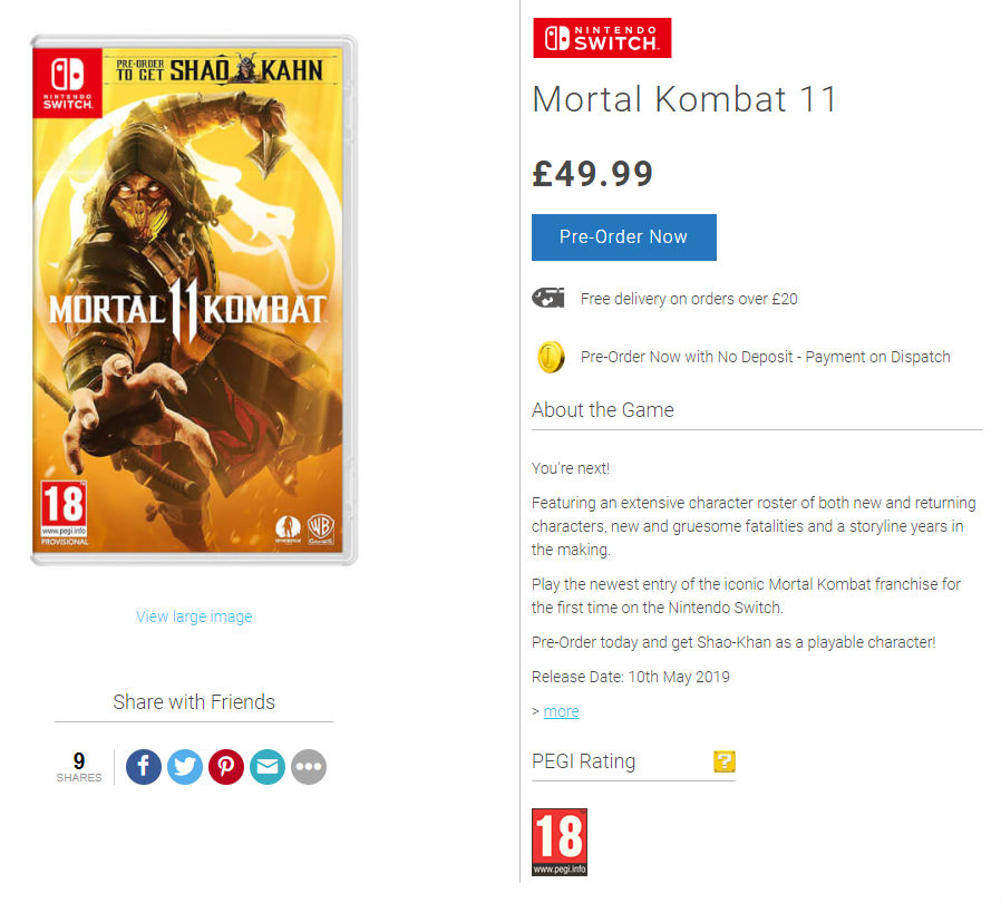 """MK11_Switch_retraso """"width ="""" 898 """"height ="""" 810 """"srcset ="""" https://cdn.atomix.vg/wp-content/uploads/2019/01/MK11_Switch_retraso.jpg 898w, https://cdn.atomix.vg/ wp-content / uploads / 2019/01 / MK11_Switch_retraso-300x271.jpg 300 W, https://cdn.atomix.vg/wp-content/uploads/2019/01/MK11_Switch_retraso-768x693.jpg 768 W, https: cdn. atomix.vg/wp-content/uploads/2019/01/MK11_Switch_retraso-250x226.jpg 250 W, https://cdn.atomix.vg/wp-content/uploads/2019/01/MK11_Switch_retraso-550x496.jpg 550 W, https: //cdn.atomix.vg/wp-content/uploads/2019/01/MK11_Switch_retraso-800x722.jpg 800 W, https://cdn.atomix.vg/wp-content/uploads/2019/01/MK11_Switch_retraso- 200x180.jpg 200 W, https://cdn.atomix.vg/wp-content/uploads/2019/01/MK11_Switch_retraso-333x300.jpg 333 W, https://cdn.atomix.vg/wp-content/uploads/ 2019/01 / MK11_Switch_retraso -554x500.jpg 554 W """"dimensions ="""" (maximum width: 898 pixels) 100 W, 898 pixels """"/></p><p>At the moment, neither <strong>Nintendo</strong> or <strong>Warner Bros. Games</strong> They came out to give a statement about it.</p><p><em><strong>Mortal Kombat 11</strong></em> will go on sale April 23 next year <strong>PS4, Xbox One, PC </strong>and (at least for now) in <strong>switch</strong>,</p><p>Source: Nintendo, Game</p></p></div><p><script>(function(d, s, id) {   var js, fjs = d.getElementsByTagName(s)[0];   if (d.getElementById(id)) return;   js = d.createElement(s); js.id = id;   js.src ="""