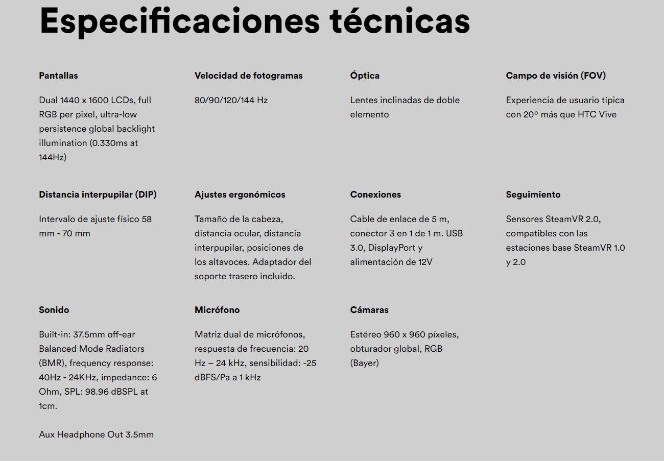 Valve Index especificaciones tecnicas Atomix