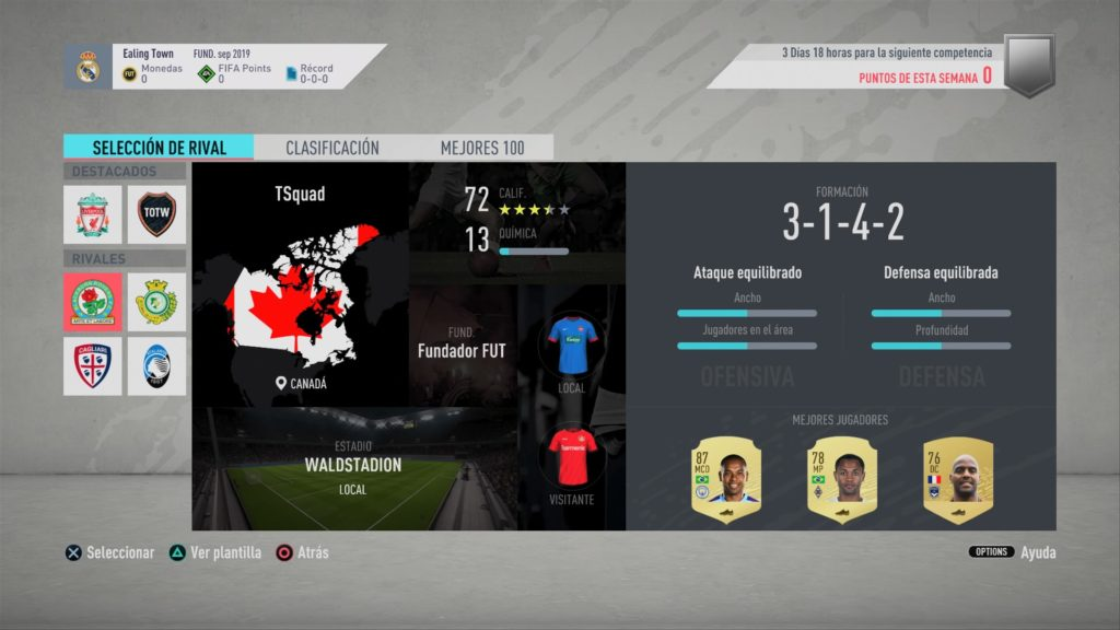 FIFA 20 Squad Battles de FUT (En los menús)