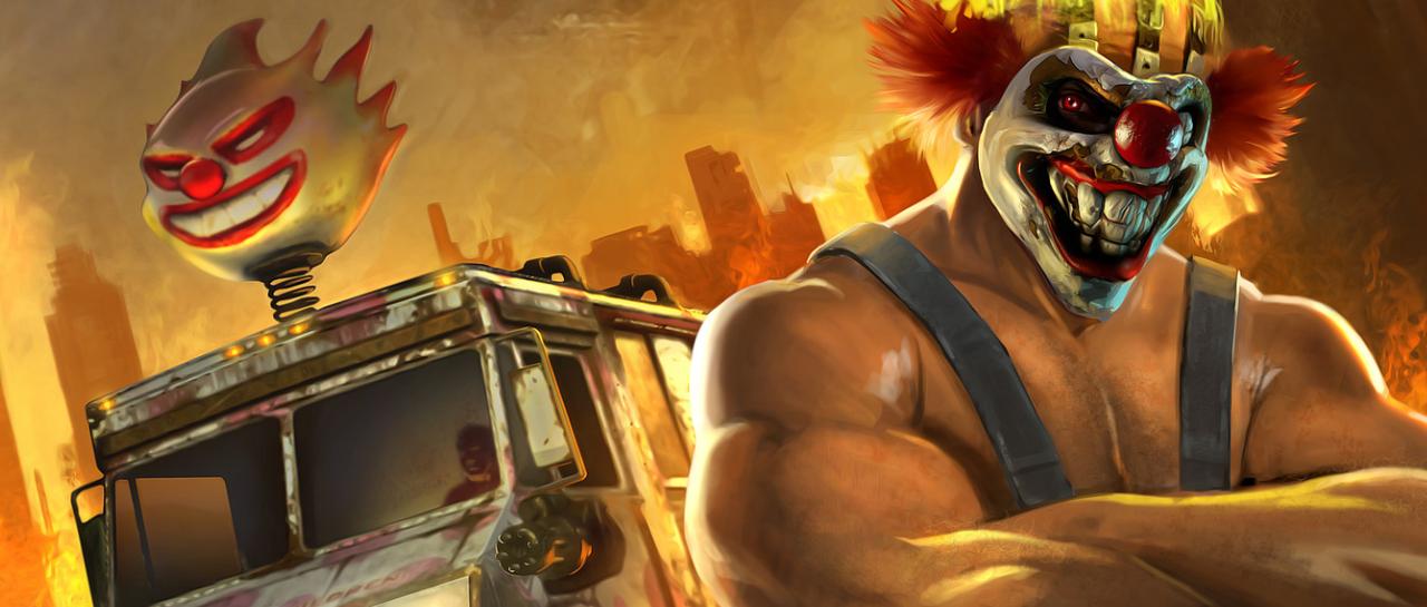 Imagen del payaso musculoso Sweet Tooth con una mascara y al fondo un camión que lleva encima la máscara de un payaso malvado.